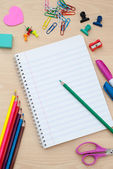 Back to school supplies with accessories — Stock Photo