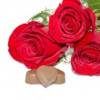 Chocolates and roses — Stock Photo