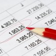 Stock Photo: Financial figures and red pencil