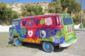 Hippie Bus near Matala, Crete — Photo