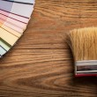 Colour Palette and a Brush - Foto Stock