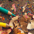 Stock Photo: Colour Pencils and Shavings
