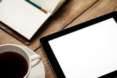 Tablet, Coffee and Agenda — Stock Photo