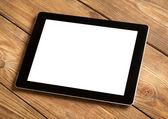 Tablet on Wood — Stock Photo