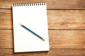 Notepad and Pencil on Wood — Stock Photo