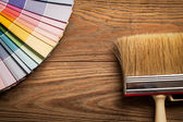 Colour Palette and a Brush — Stock Photo