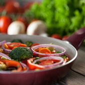 Pan with Fresh Vegetables — Stock Photo