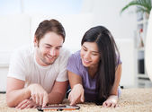 Happy Couple Watching Favorite Show — Stock Photo