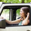 Young Woman Enjoying a Car Ride — Stock Photo