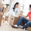 Happy Couple Moving In — Stock Photo