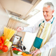 Senior Man Cooking — Stock Photo