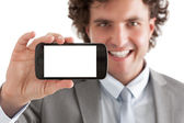 Businessman Holding a Smart Phone — Stock Photo