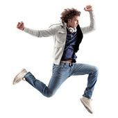 Cool Man Jumping — Stock Photo