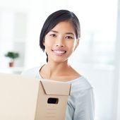 Woman Holding a Box — Stock Photo