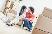 Smiling Couple Moving In — Stock Photo