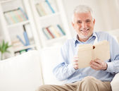 Senior Man Reading a Book — Stock Photo