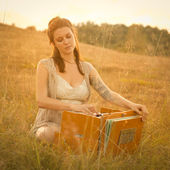 Playing the Harmonium — Stock Photo