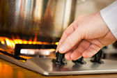 Saucepan on Burner — Stock Photo