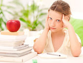 Worried Schoolgirl — Stock Photo