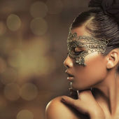 žena s maskou — Stock fotografie