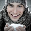 Man Holding Snow — Stock Photo