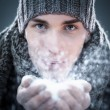 Man Blowing Snow — Stock Photo