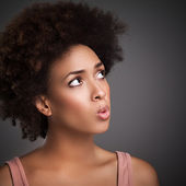 African Woman Whistling — Stock Photo