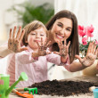 Mother and Daughter Gardening — Stock Photo #25348985