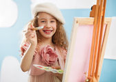 Cute Little Painter — 图库照片