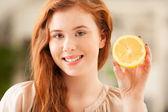 Woman Holding a Lemon — Stock Photo