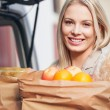Woman Holding Groceries — Stock Photo
