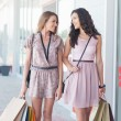 Two Smiling Women Shopping Together — Foto Stock