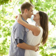 Caucasian Couple About to Kiss — Stock Photo