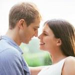 Romantic Caucasian Couple Outdoors — Stock Photo