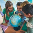 Schoolchildren in a Geography Lesson — Foto Stock