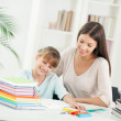 Mother and Daughter Doing Homework Together — Stock Photo
