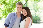 Happy Caucasian Couple Outdoors — Stock Photo