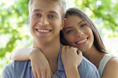 Happy Couple Smiling Outdoors — Stock Photo