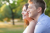 Outdoor portrait of a happy couple — Stock Photo