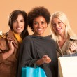 Smiling Women With Shopping Bags — Foto Stock