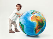 Boy and Planet Earth — Stock Photo