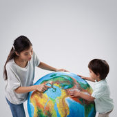Mother Son and Planet Earth — Stock Photo