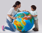 Mother and Son Learning About Planet Earth — Стоковое фото