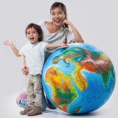 Mother and Son Learning About Planet Earth — Stok fotoğraf