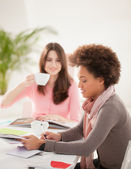 Smiling Women Studying Together — Stock Photo