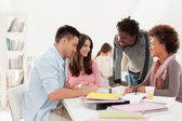 Multiethnic Group of College Students Studying Together — Stock Photo