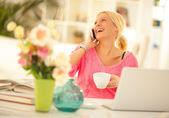 Woman on the Phone at Home — Stock Photo