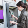 Caucasian Woman at the ATM — Foto Stock