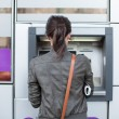 Caucasian Woman at the ATM — Stock Photo