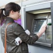 Caucasian Woman at the ATM — Stock Photo #34754515